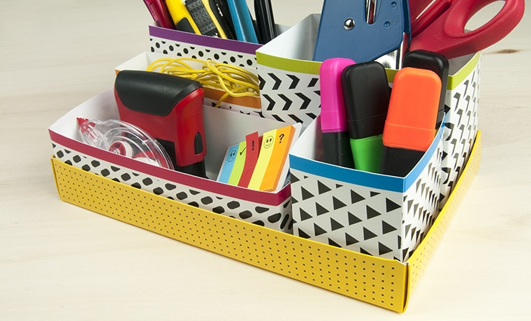 printed paperboard desk organizer