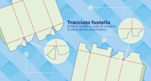 Tracciato fustella: scatole con fondo a coda di rondine e fondo automatico