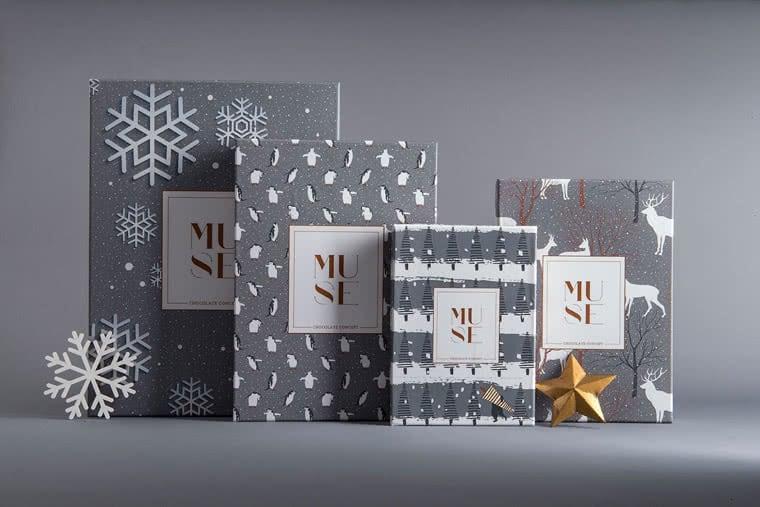 scatole di natale barrette cioccolata muse