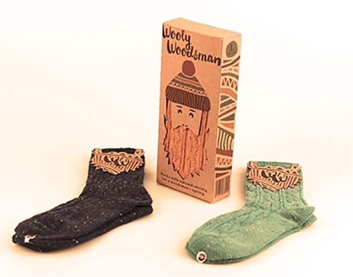 Hipster sock packaging