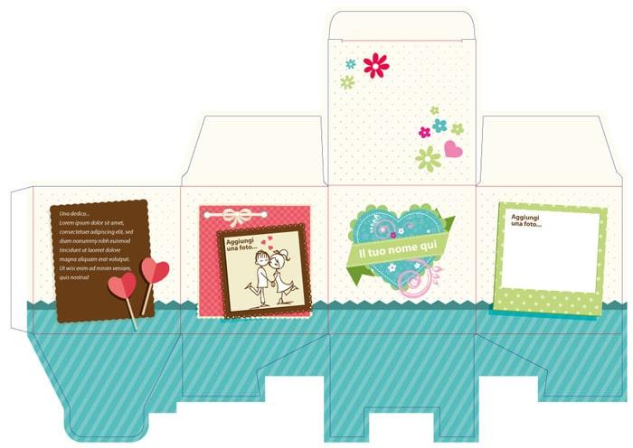 grafica personalizzata San Valentino scatola a coda di rondine