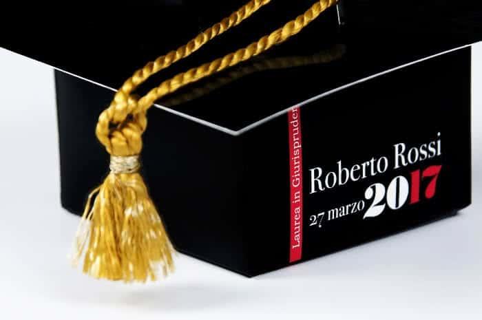 Cappello di laurea scatola personalizzata bomboniere