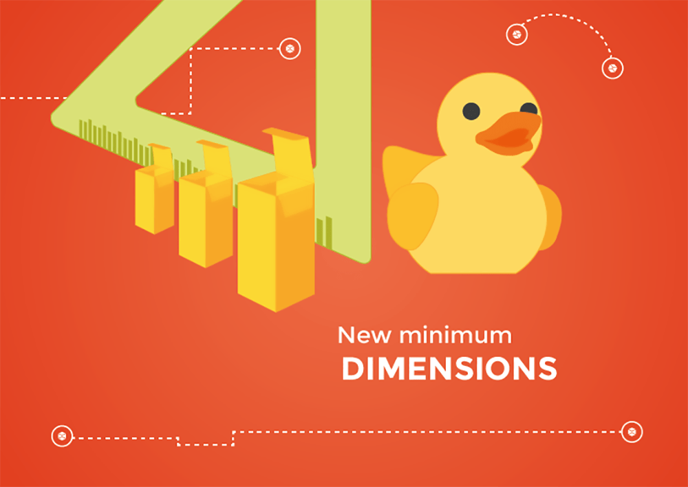 new minimum dimensions Packly