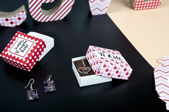 scatole stampate orecchini