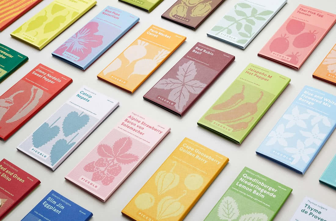 seed packagings piccolo-seeds-here-design