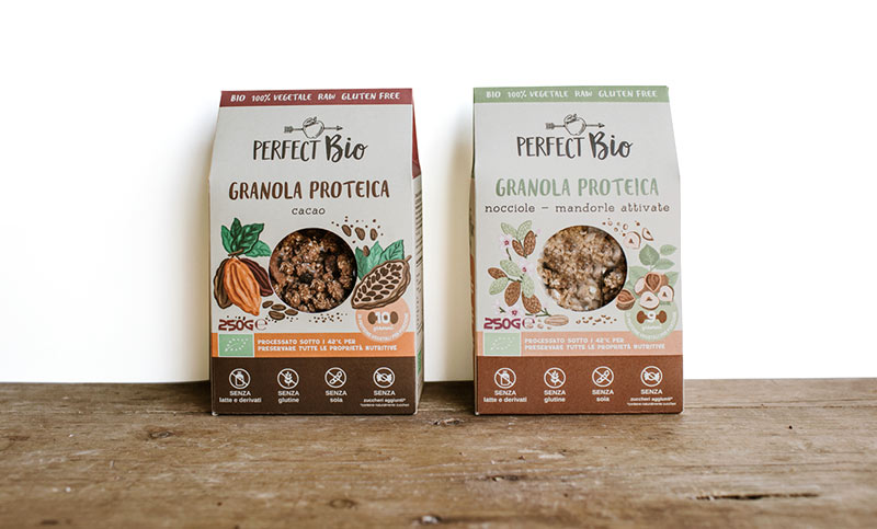 Packaging di granole in cartone materico