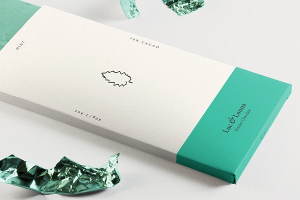 Minimal packaging for flavored chocolate