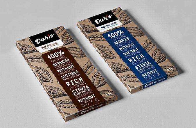 Paper packs for vegan chocolate