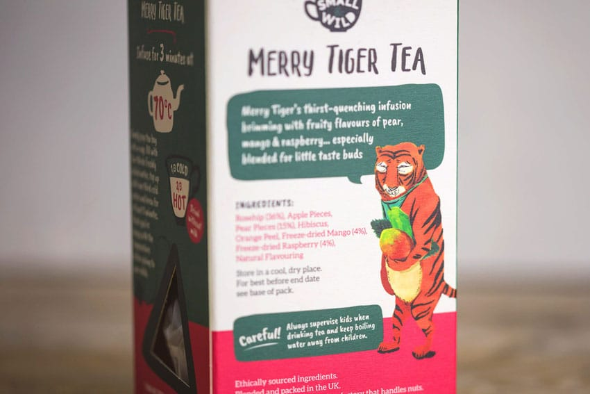 The merry tiger on the packaging design of children's tea