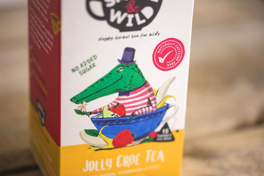 The jolly croc on the packaging design of children's tea