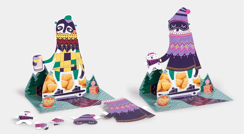 Cutouts and pop-up figures from reusable packaging design