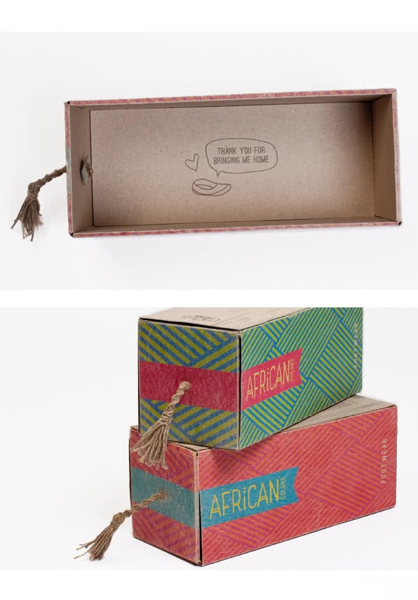 African colors shoe packaging
