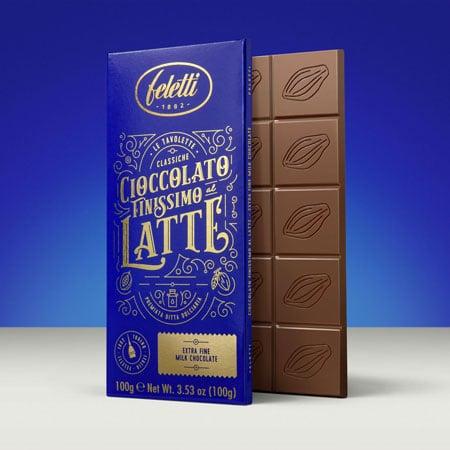 Packaging blu e oro per cioccolato finissimo