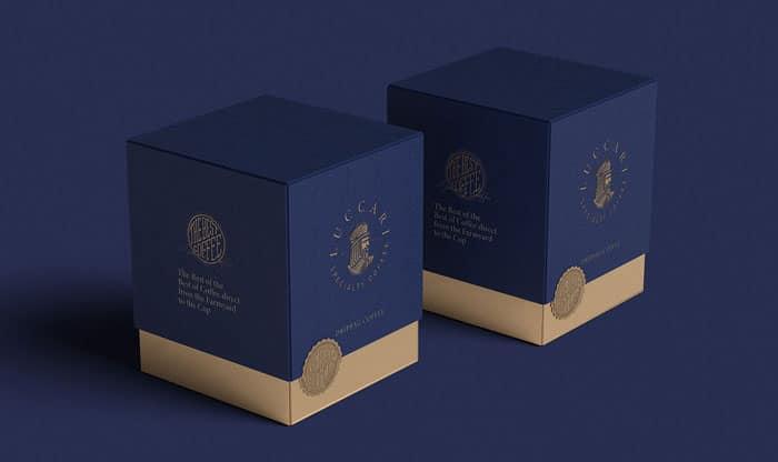 Premium packaging in blu per caffè