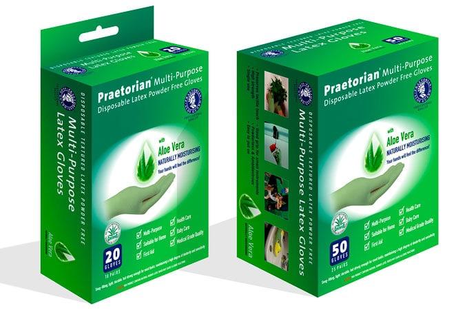 Moisturizing latex gloves packaging
