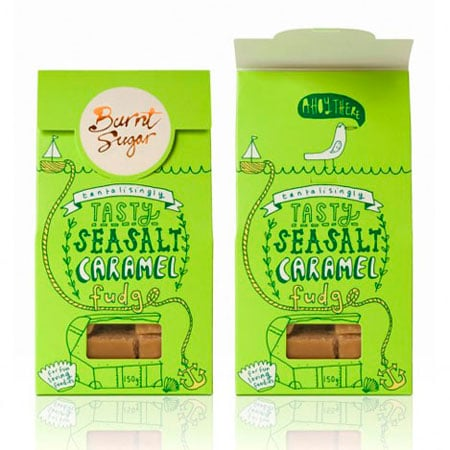 Green packaging for caramel fudge