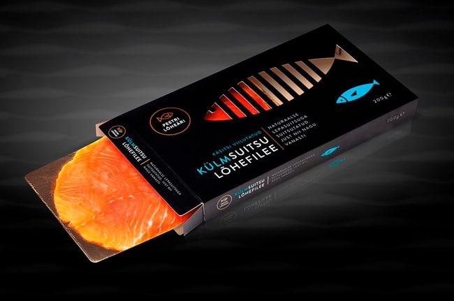 Slim black tuck end box for salmon