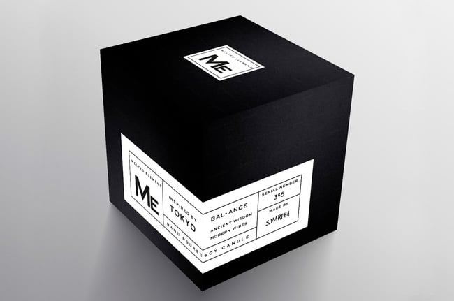 Black cube for candle packaging