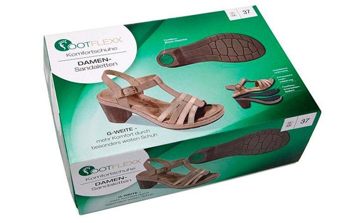 Comfort sandals in green packaging