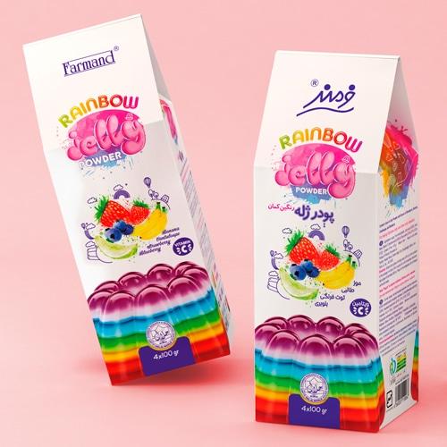 Gelatine arcobaleno con packaging a tema