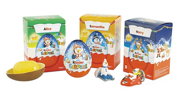 Packaging stagionale con nome ovetti Kinder