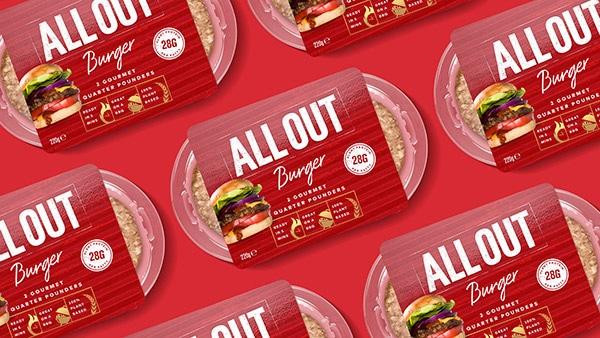 Fascetta rossa in cartoncino per burger vegetale