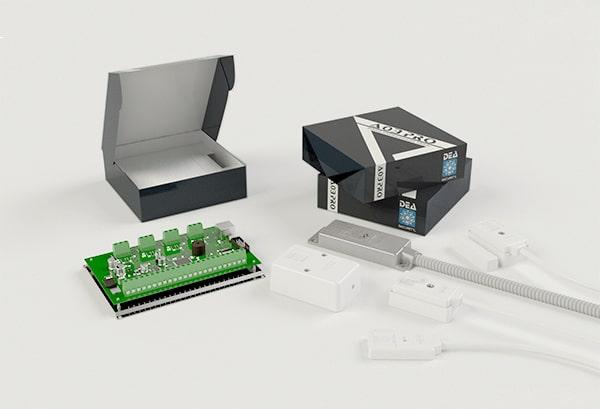 Scatola a valigetta per schede e astucci per sensori e connettori
