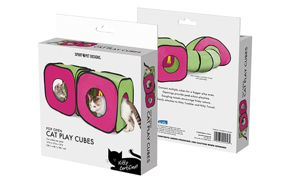 Scatola appendibile con giochi per gatti