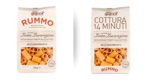 Reimagined Rummo pasta box with enhanced cooking minutes