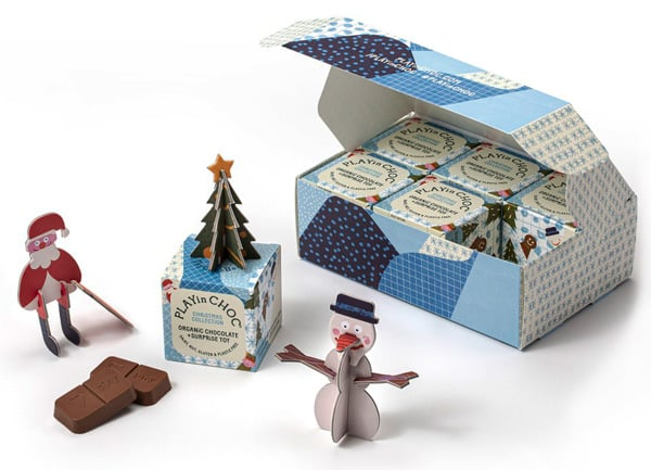 Blue patterned Christmas hinged lid rollover box