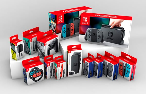 Nintendo switch and its accessories in hanging boxes