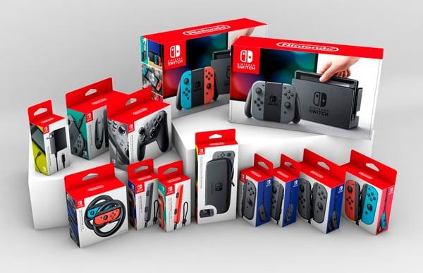 Nintendo switch ed accessori in scatole appendibili