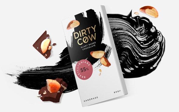 Slim tuck end box for vegan chocolate