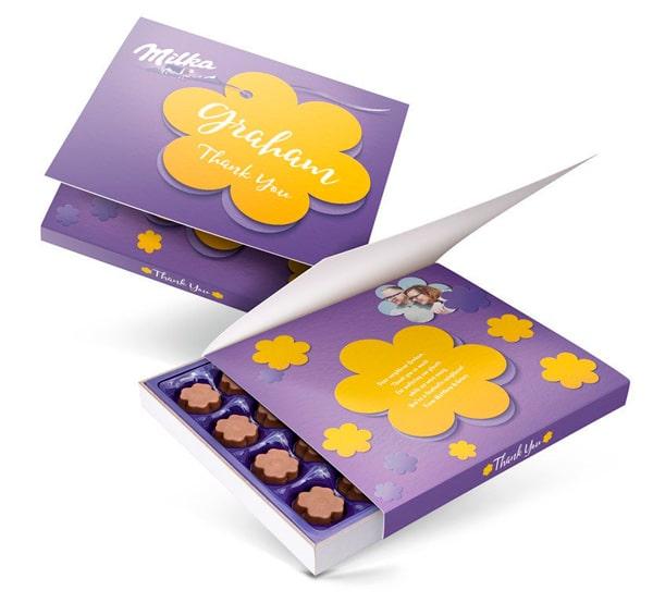 Packaging cioccolatini Milka con personalizzazione