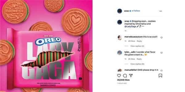 L'annuncio di Oreo per l'edizione limitata Lady Gaga su Instagram