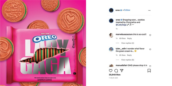 Oreo's announcement of the Lady Gaga limited edition on Instagram