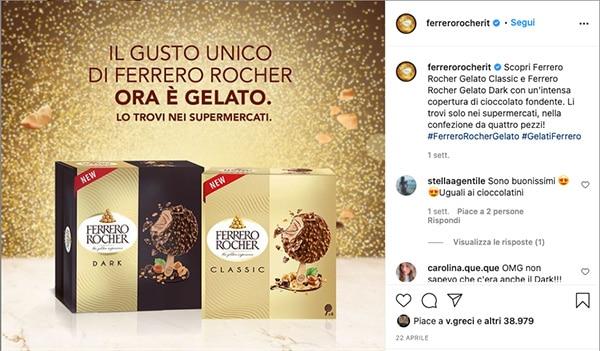 Annuncio Instagram dei nuovi gelati Ferrero