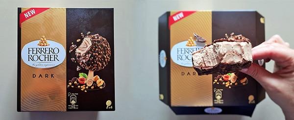 New Ferrero Rocher Dark ice cream packaging