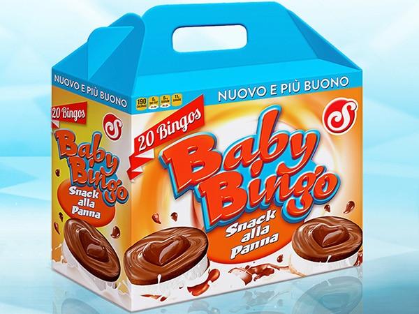 Scatola con manico per snack alla panna