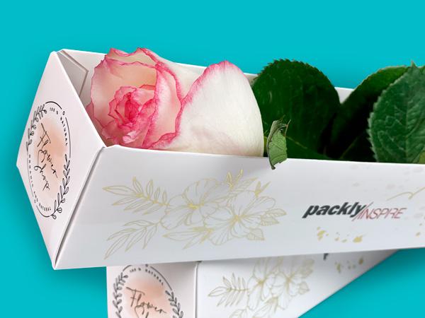 Vassoio con grafica nobilitata che contiene il fiore