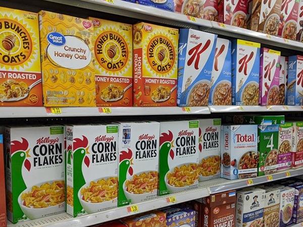 Kellog's packaging range on shelves