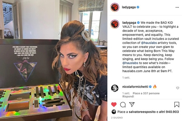 Lady Gaga and her Haus Labs box on social media