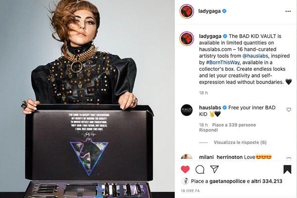 Il lancio della scatola per collezionisti di Gaga su Instagram