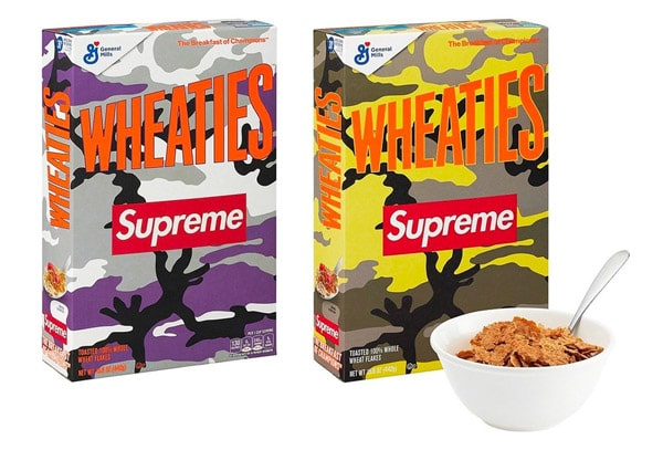 Both color versions of the Whaties cereal boxes by Supreme