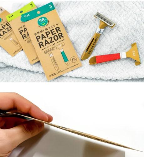 Dettaglio sul packaging del rasoio usa e getta sostenibile