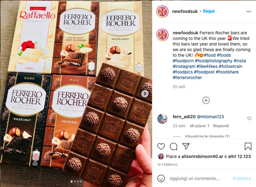 The social announcement for the new premium chocolate bars by Ferrero
