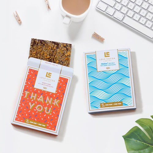 Colorful and patterned premium chocolate packaging