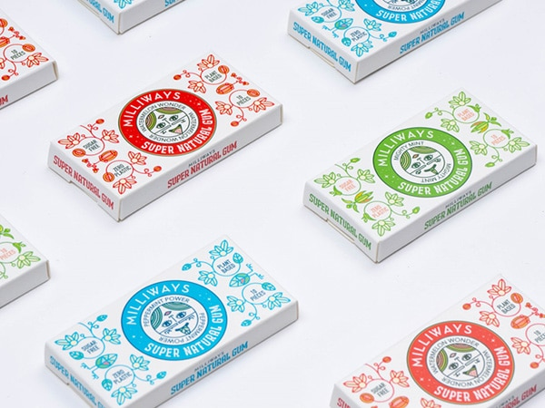Slim boxes for vegan chewing gums by Milliways