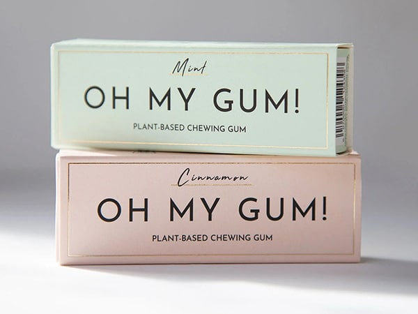 Two flavored vegan chewing gum boxes