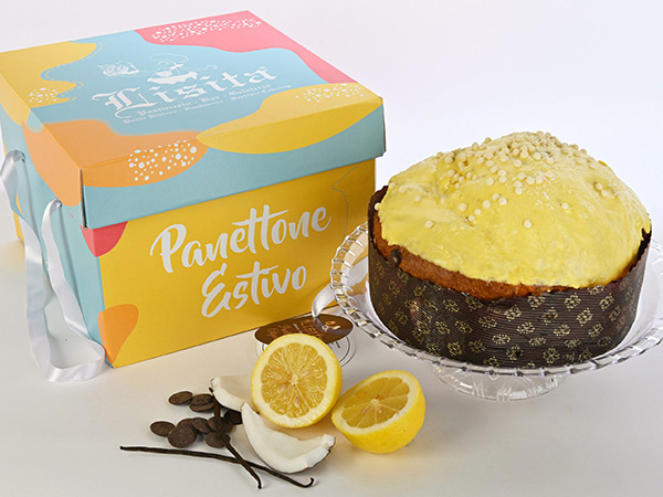 Summery panettone recipe in a beautiful packaging